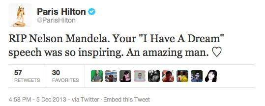 paris hilton tweet mandela