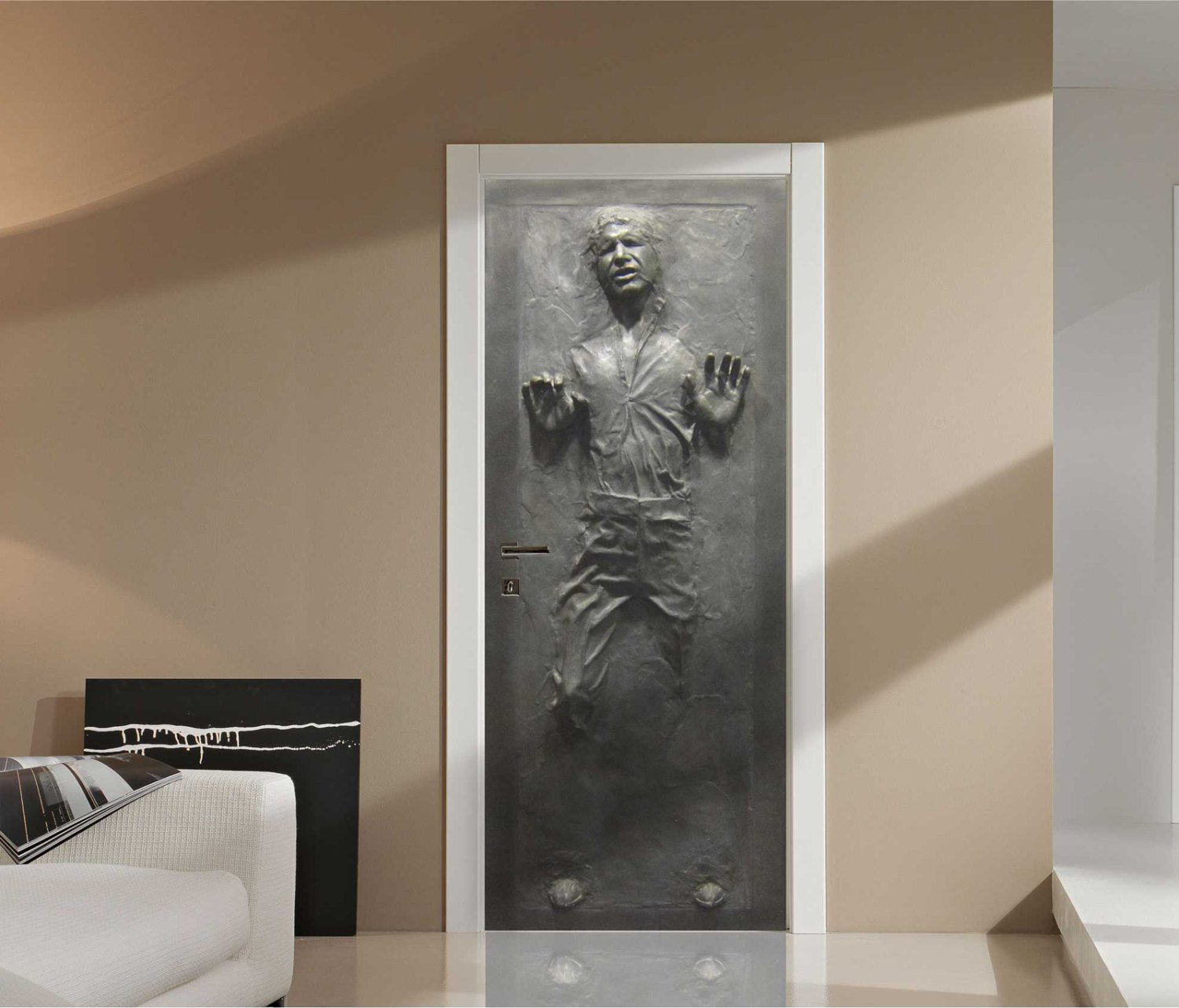 D co geek le sticker han solo for Decoration porte 3d