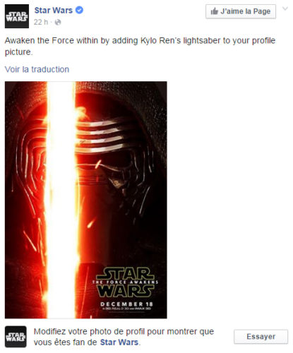 Star Wars rajoutez un sabre laser à votre photo de profil Facebook